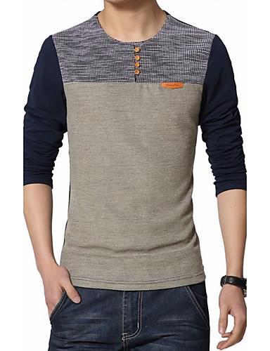 voordelige Heren T-shirts & tanktops-Heren Grote maten - T-shirt Katoen Kleurenblok Ronde hals Marineblauw / Lange mouw / Herfst