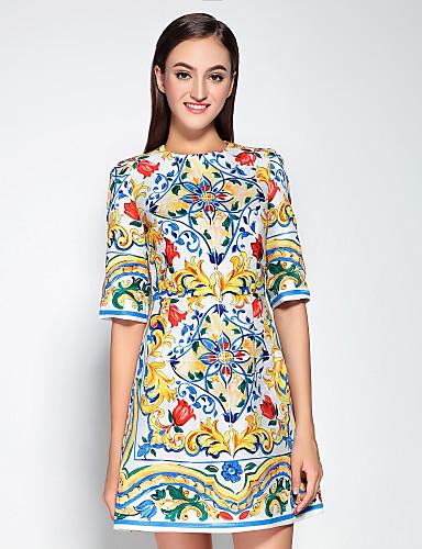 Mujer Sofisticado Algodón Corte Ancho Vestido Floral Sobre la rodilla / Otoño