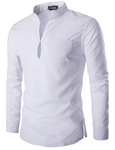 cheap Men's Tees & Tank Tops-Men's Basic / Chinoiserie Cotton Slim Shirt - Solid Colored Basic Stand / Long Sleeve / Spring / Fall