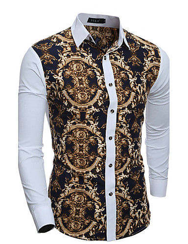 Homens Camisa Social Vintage Patchwork, Geométrica Algodão Colarinho Clássico Delgado / Manga Longa / Primavera / Outono