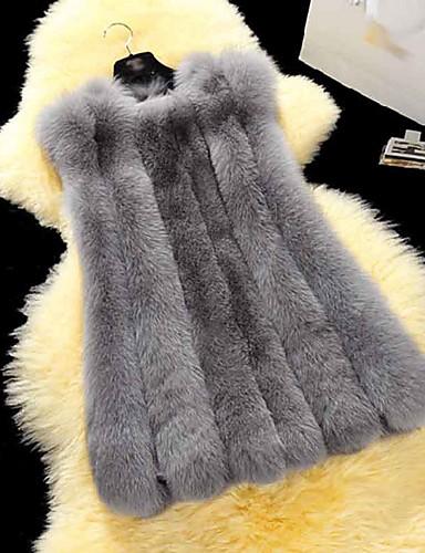 レディース 冬 ファーコート,シンプル ノースリーブ
