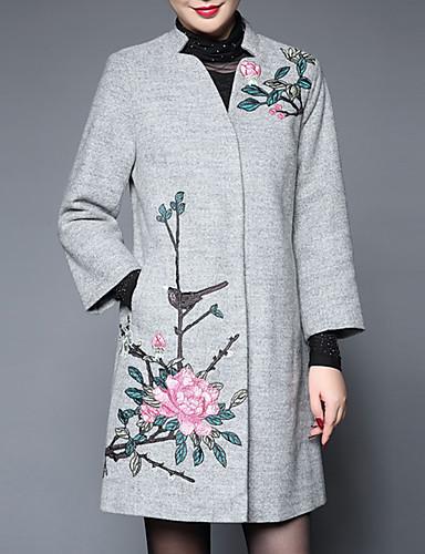 女性 お出かけ / プラスサイズ 秋 / 冬 刺しゅう コート,ストリートファッション スタンド ブラック / グレイ ポリエステル 長袖 ミディアム