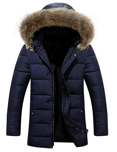 コート レギュラー パッド入り メンズ,カジュアル/普段着 ソリッド ポリエステル コットン-シンプル 長袖 フード付き