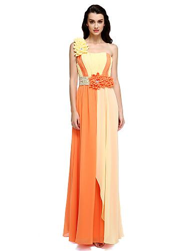 Tubinho Assimétrico Longo Chiffon Evento Formal Vestido com Pregueado Flor(es) de TS Couture®
