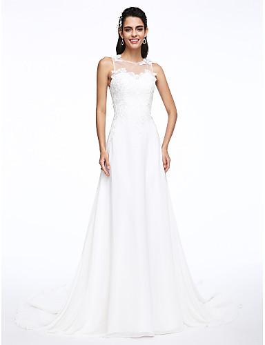 A-라인 쥬얼리 코트 트레인 쉬폰 웨딩 드레스 와 아플리케 으로 LAN TING BRIDE®