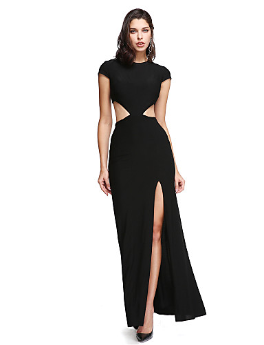 cheap Evening Dresses-Sheath / Column Jewel Neck Ankle Length Jersey Cut Out Formal Evening Dress with Buttons / Split Front by TS Couture®