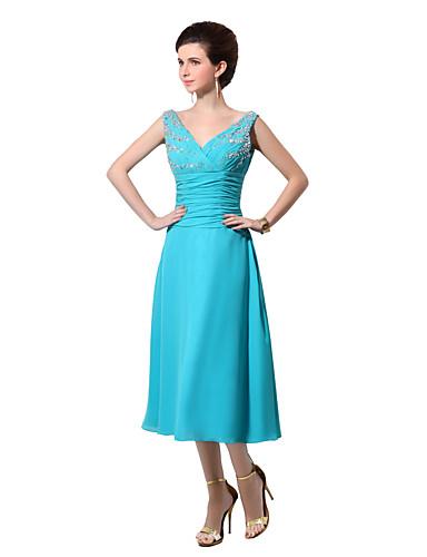 we-lineによるビーズドレープ付きのaラインvネック茶の長さのシフォンの花嫁介添人ドレス