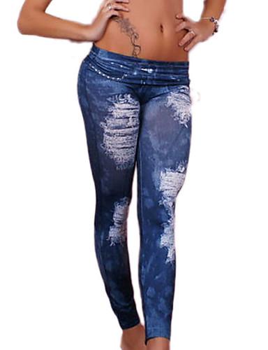 Naisten Yksiväriset Kuvio Revityt Denim Leggingsit,Polyesteri
