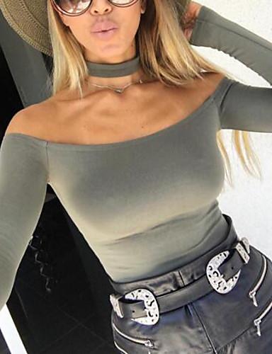 Damen Street Schick Schlank Bodysuit Solide Schulterfrei Halsband