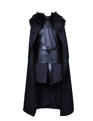 billige Voksenkostymer-Jon Snow Cosplay Kostumer Maskerade Herre Dame Film-Cosplay Svart Topp Bukser Hansker Halloween Karneval Nytt År