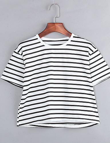 Casual/hétköznapi Egyszerű Kerek-Női Póló,Csíkos Nyári Fél hosszú ujjú Fehér Poliészter Nem átlátszó
