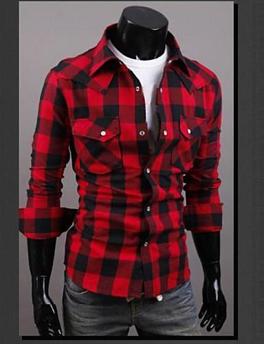 Heren Overhemd, Weekend Ruitjes Klassieke boord Slank Katoen
