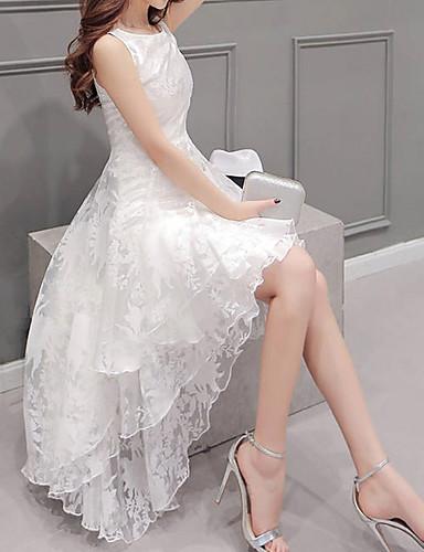 voordelige Sexy jurken-Dames Grote maten Feest A-lijn Jurk - Effen Asymmetrisch Wit / Ruche