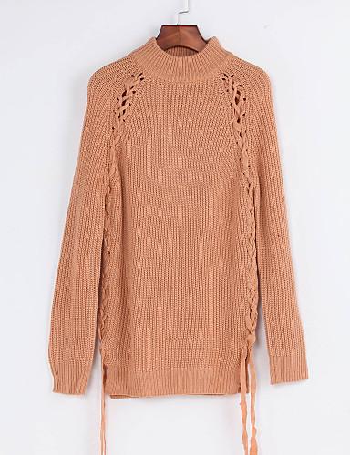 Normal Pullover Fritid/hverdag Gatemote Dame,Ensfarget Rullekrage Langermet Polyester Vinter Tynn Mikroelastisk