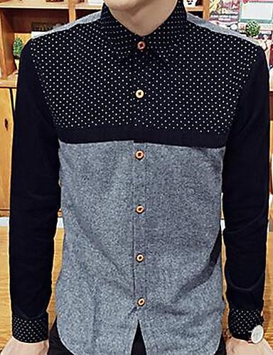 メンズ お出かけ シャツ,シンプル ラウンドネック プリント コットン 長袖