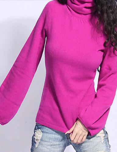 Dame Vintage Sofistikert Gatemote Pullover - Ensfarget Dyp U
