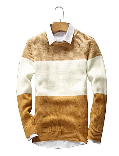 Hombre Simple / Vintage / Chic de Calle Manga Larga Pullover - Un Color / A Rayas Escote Redondo