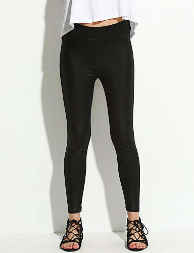 Women's Low Rise Micro-elastic Skinny Jeans Pants, Sexy PU Spring