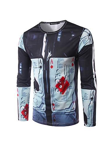 Polyester Blå Medium Langermet,Rund hals T-skjorte Geometrisk / Bokstaver Høst / Vinter Enkel Fritid/hverdag / Arbeid Herre