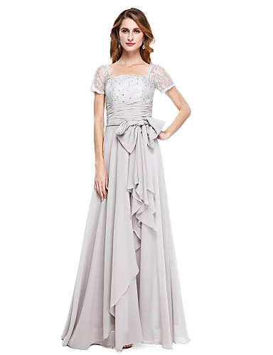 6003c5039bf2 A-Line Square Neck Floor Length Chiffon Mother of the Bride Dress with  Beading / Bow(s) by LAN TING BRIDE®
