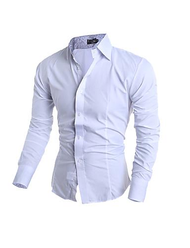 Bomull Opprett krage Skjorte Herre - Ensfarget Enkel