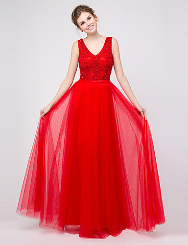 アップリケビーズのaラインvネックフロアの長さのチュールフォーマルイブニングドレス