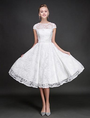 billige Korte brudepikekjoler-A-linje Besmykket Knelang Blonder Brudepikekjole med Belte / bånd av LAN TING BRIDE®