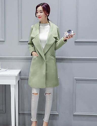 Polyester Rosa / Grønn Medium Langermet,Skjortekrage Frakk Ensfarget Gatemote Ut på byen / Ferie-Høst / Vinter Dame