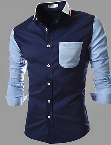 Bomull Skjorte Herre - Fargeblokk Enkel
