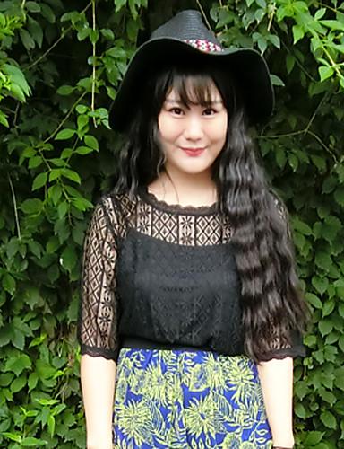 Rayon Sort Medium Halvlange ermer,Rund hals T-skjorte Ensfarget Sommer / Høst Enkel Fritid/hverdag / Plusstørrelser Dame