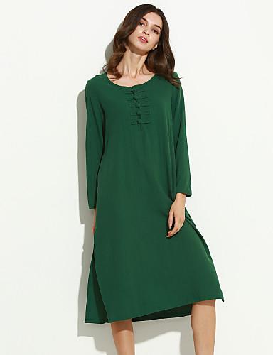 Mulheres Solto Vestido,Casual Moda de Rua Sólido Decote Redondo Médio Manga Longa Azul / Vermelho / Verde Algodão / Linho Outono