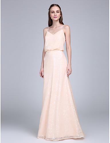 מעטפת \ עמוד רצועות ספגטי עד הריצפה נצנצים שמלה לשושבינה  עם נצנצים על ידי LAN TING BRIDE®