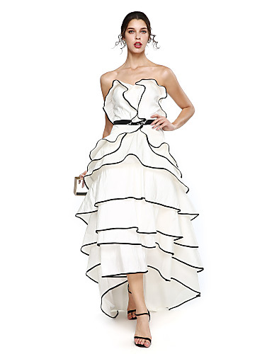 cheap Evening Dresses-A-Line Sweetheart Neckline Asymmetrical Taffeta High Low Prom / Formal Evening Dress with Sash / Ribbon / Tier by TS Couture®