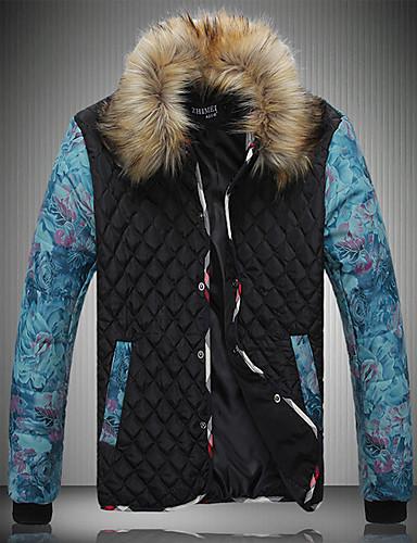 コート レギュラー パッド入り 男性,プラスサイズ カラーブロック ポリエステル ポリエステル-シンプル 長袖 スタンド ブラック