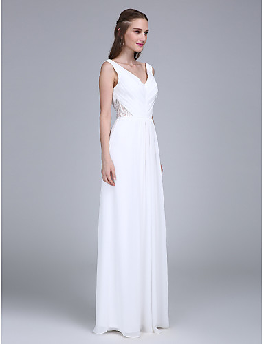 Sheath / Column V Neck Floor Length Chiffon Bridesmaid Dress with Side Draping by LAN TING BRIDE®