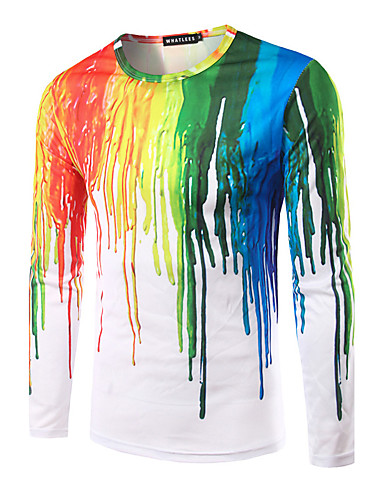 Hombre Estampado Camiseta, Escote Redondo Delgado Arco iris / Manga Larga