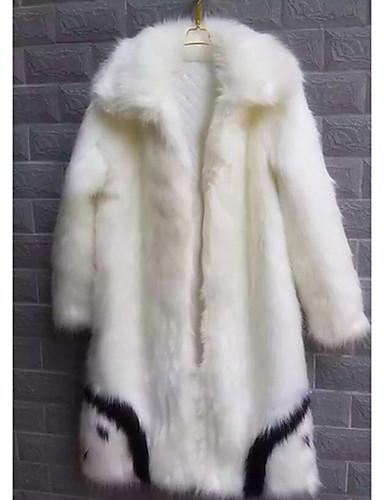 男性用 ロング コート - ストリートファッション 特大の ソリッド, フェイクファー