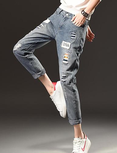 Dame Enkel Mikroelastisk Jeans Bukser,Løstsittende Mellomhøyt liv Bokstaver