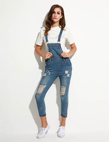 Damen Street Schick Micro-elastisch Jeans Overall Hose einfarbig