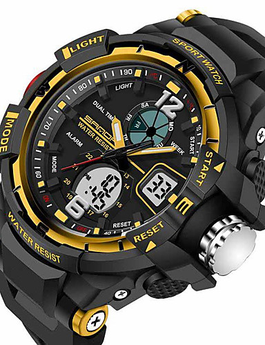 1dff1b025ad SANDA Homens Relógio Esportivo Relógio inteligente Relógio de Pulso Digital  Quartzo Japonês Silicone Preta 30 m Impermeável Alarme Cronógrafo ...