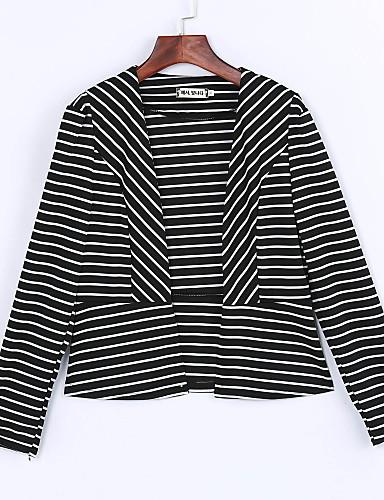 Normal Langermet,Skjortekrage Blazer Stripet Vår Sexy Fritid/hverdag Dame