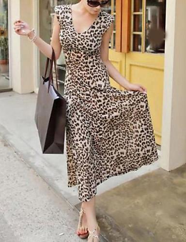 Women's Swing Dress - Leopard Maxi V Neck