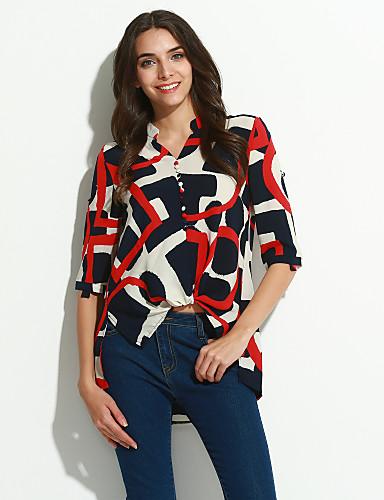 Damen Bluse, Rundhalsausschnitt Blume Druck Kunstseide