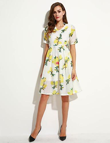 משי / פוליאסטר מידי צווארון V דפוס שמלה גזרת A / נדן סגנון רחוב נשים