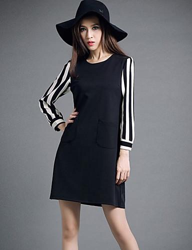 女性用 プラスサイズ ワーク キュート ストリートファッション バタフライスリーブ シース ドレス ソリッド カラーブロック 膝上 ハイライズ