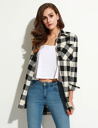 Dames Street chic Herfst Overhemd,Casual/Dagelijks Blokken Overhemdkraag Lange mouw Katoen Medium