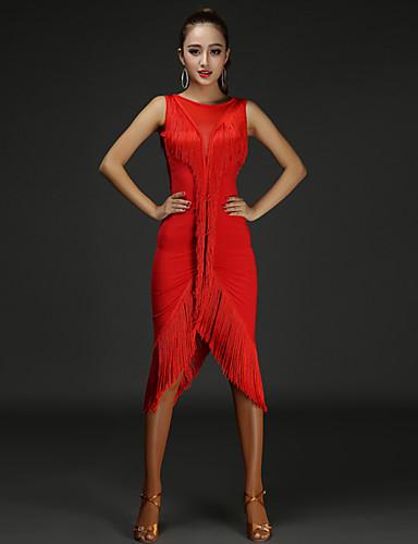 866ce187a021 Balli latino-americani Vestiti Per donna Prestazioni Cotone   Chinlon Nappa    A fantasia Senza maniche Naturale Abito