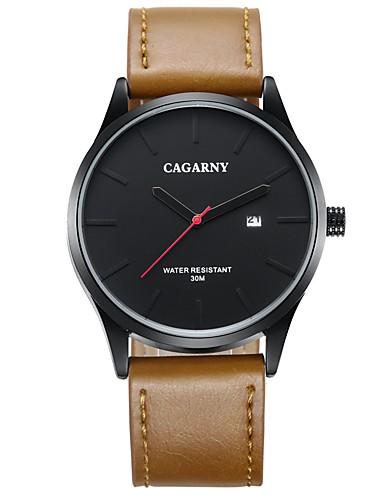 CAGARNY Hombre Reloj de Moda / Reloj de Pulsera Calendario / Cool Piel Banda Lujo / Casual Marrón