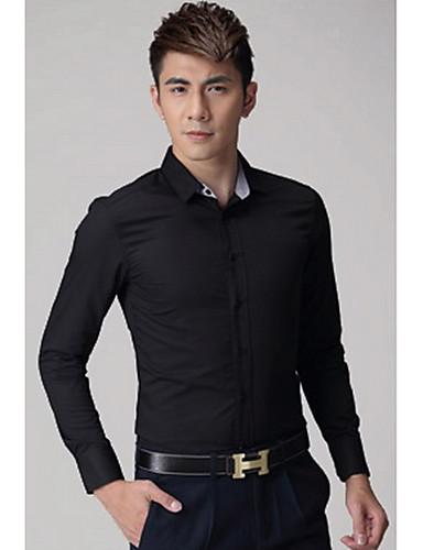 Bomull Medium Langermet,Skjortekrage Skjorte Ensfarget Vår Høst Enkel Arbeid Herre