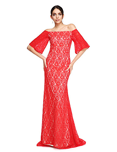 cheap Evening Dresses-Mermaid / Trumpet Off Shoulder Sweep / Brush Train Lace Open Back Formal Evening Dress with Beading by TS Couture®